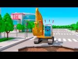 Bagger und Traktor - Lernen und bauen - Bau Cartoon f