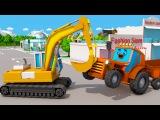 Видео для детей Веселые Машинки - Экскаватор Трактор и Грузовик в Городке 3D Муль ...