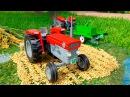 Видео для детей про Красный Трактор и Грузовик Экскаватор в Городке 2D Мультик пр...