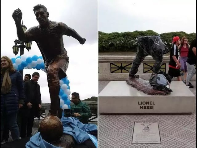 Unknown persons destroyed the monument to Lionel Messi/Неизвестные уничтожили памятник