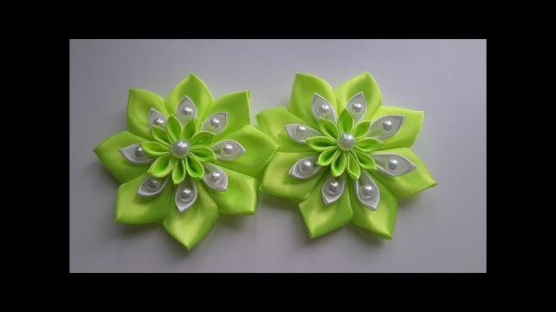 Цветочки из атласной ленты для заколок Канзаши