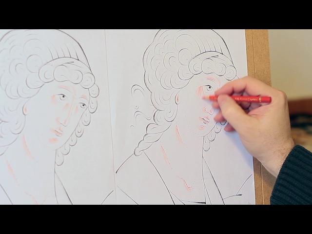 Dipingere la Trinità Demo: 32 Studio matite rosse volto