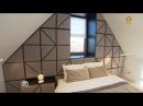 Спальня вмансарде сраздельным санузлом и3D-стеной