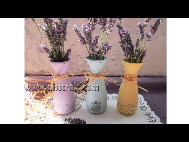Декор стеклянных вазочек в стиле Прованс Перевод изображения на стекло