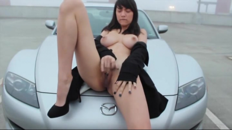 Sultry Brunette Masturbates In Front Of Web Camera In Public Places And