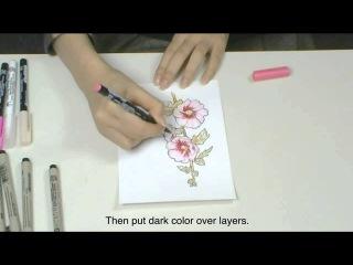 Рисунок маркерами KOI Coloring Brush Pen и ручками Pigma Micron
