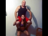 Cute young girl lift carry squat her 100kg dad