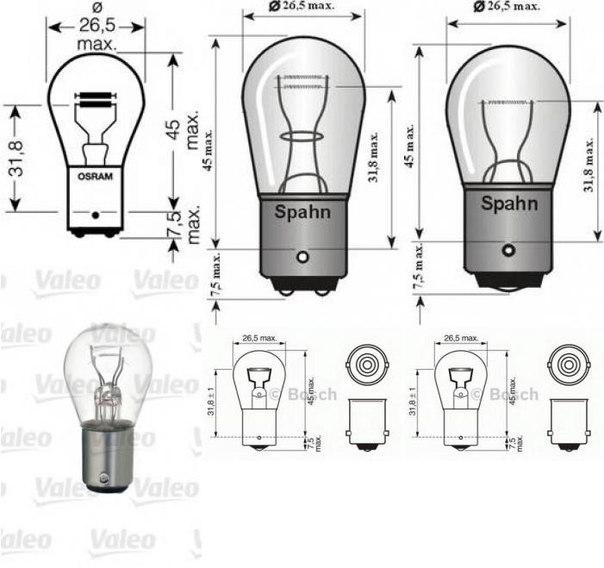 Лампа накаливания, фонарь сигнала торможения; Лампа накаливания, задняя противотуманная фара; Лампа накаливания для AUDI 90 (89, 89Q, 8A, B3)