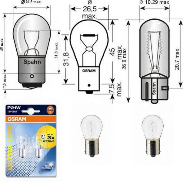 Лампа накаливания, фонарь указателя поворота; Лампа накаливания, основная фара для AUDI A1 Sportback (8XA, 8XK)