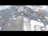 Донецк, последствия взрыва на Мотеле вечером 020217, съёмка с БПЛА, хорошо видно направление ударной волны