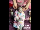 Cute monkey gets relaxing head massage
