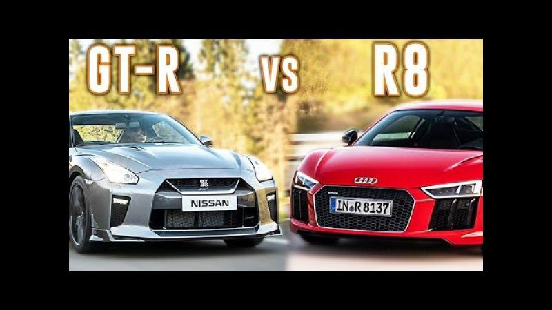 Nissan GT-R 2017 vs Audi R8 V10 Plus 2017 - Acceleration 0-330km/h Exhaust Sound