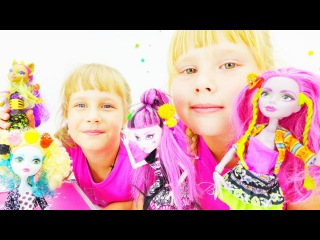 Видео для детей. Игры с куклами. Ксюша и Аня. Монстры Хай собираются на дискотеку
