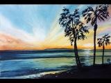 Watercolor California Coast Sunset Painting Demonstration