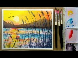 Golden Sunset Beginner Watercolor 3 Color REAL TIME Tutorial