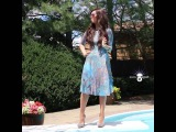 Girl jumps into pool
