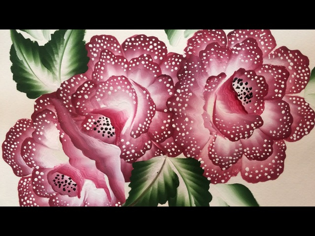 One Stroke Painting- Beautiful dotted flowers