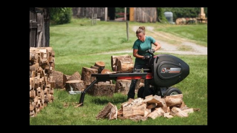 Sexy Girls and Log Splitter, Chainsaw, Circular Saw. New Technologies Chopping Wood
