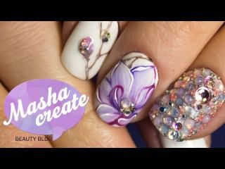 Рисунки гель лаком: дизайн ногтей с Цветами. Нежный маникюр Магнолия акварель г...