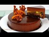 МУССОВЫЙ торт АПЕЛЬСИН и черный ШОКОЛАД с зеркальной глазурью - B