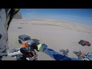 100ft Dirt bike dune jump landed onto Jeep wrangler hood