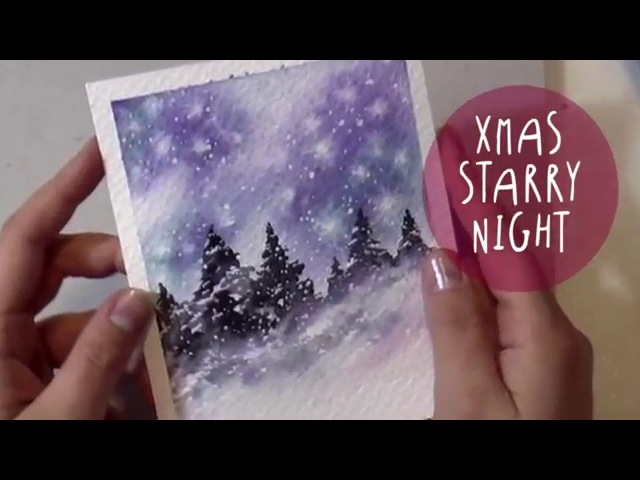WATERCOLOR Tutorial: How to Paint a CHRISTMAS NIGHT Landscape (Christmas Starry Night) by ART Tv