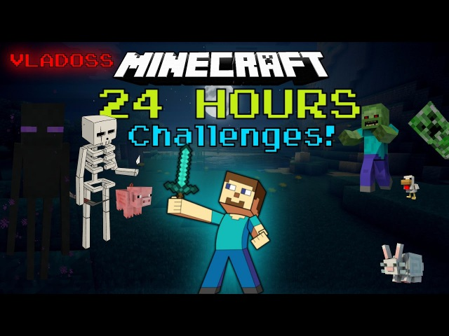 Ночь В Майнкрафт челлендж 24 часа! 24 hour minecraft challenge