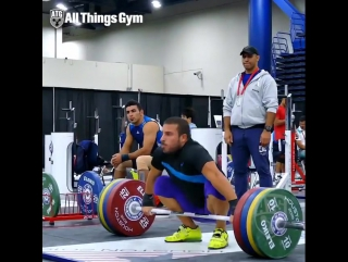 Olympic champion @kianoush_rostami (85kg) snatching 160kg in the worlds training hall.