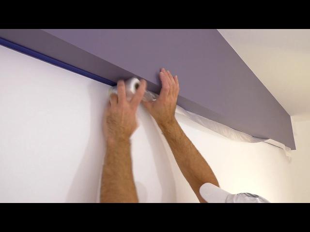 Идеальный стык краски! Двойная оклейка! Красим потолок и стены в разные цвета!