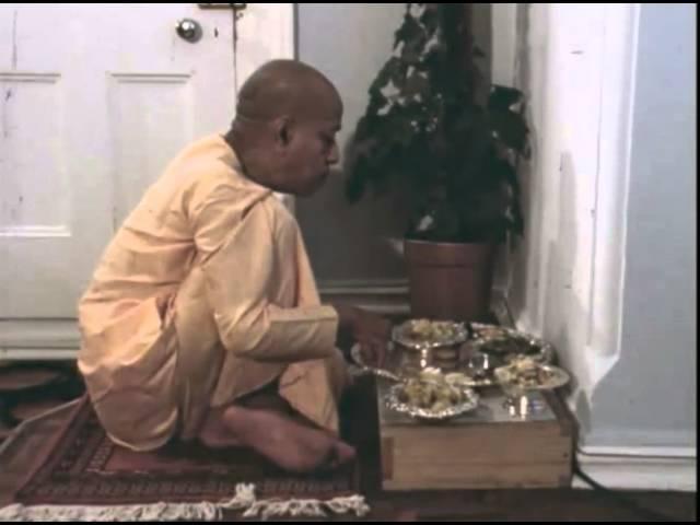Srila Prabhupada Chanting Gayatri Taking Prasadam