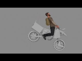 Анимация модели персонажа на мотоцикле