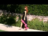 Black cotton high-low skirt. Ameynra fashion by Sofia Metal Queen