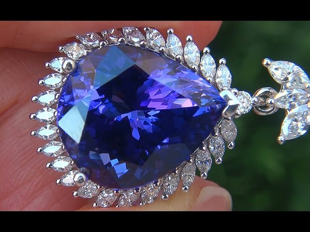 GIA Certified FLAWLESS Natural D-Block Tanzanite Diamond 14k White Gold Pendant Necklace - A131596