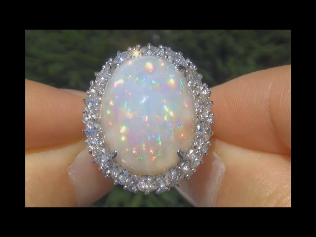MUSEUM QUALITY Unheated Untreated 25.02 Carat Ethiopian Opal Diamond Ring 14K