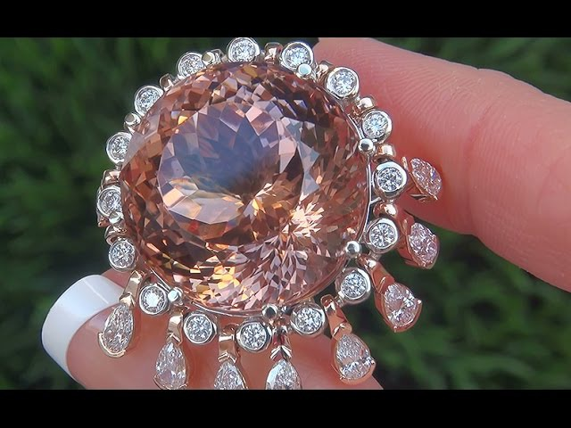 WORLDS LARGEST GIA Certified UNHEATED Pink Morganite Diamond 14k Rose Gold Vintage Ring - A141550