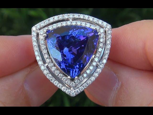 GIA Certified FLAWLESS Natural Trillion Cut Tanzanite Diamond 14k Gold Vintage Ring - A131580