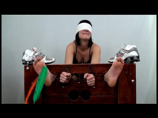 WayTooTicklish - Meredith Locked in Stocks and Tickled - Part I Bare Feet