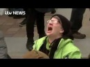 Protester screams NO as Donald Trump becomes 45th President (CELINE A SCENE)