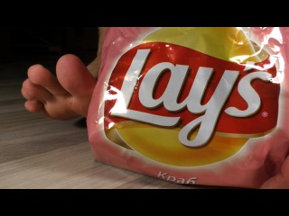 Crushing Lays With Bare Feet
