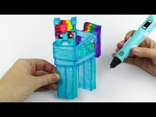 Rainbow Dash from My Little Pony in Minecraft Style 3D Pen Drawing for Kids