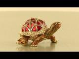Turtle Faberge style Trinket Box by Keren Kopal Swarovski Crystal