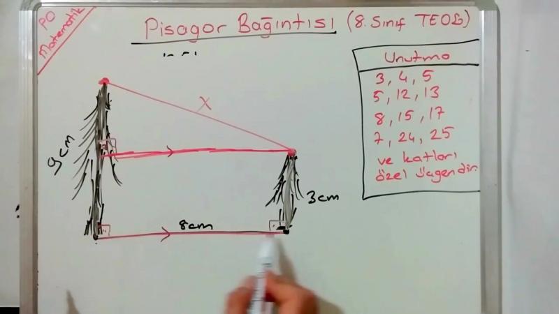 8. Sınıf Üçgende Pisagor Bağıntısı Dik Üçgen Konu Anlatımı Soru Çözümü (Teog 2. Sınav)