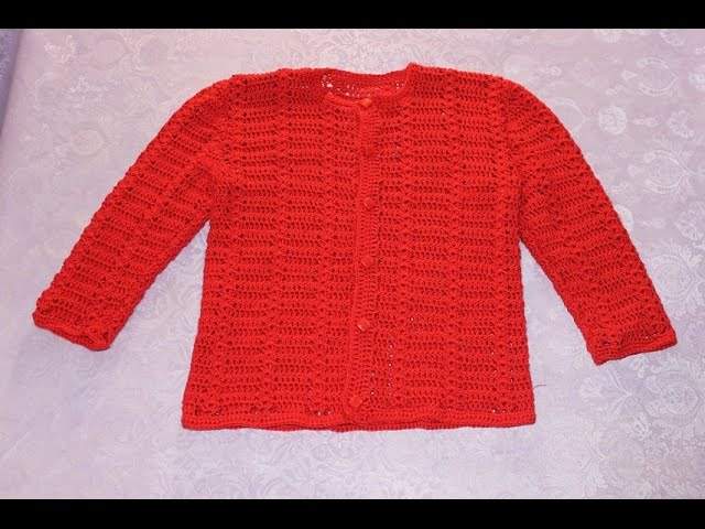 Кофта для девочки крючком (2,5 - 3 - 4 года). Часть 1 (образец, мерки, выкройка, расчеты).