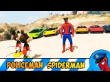 Policeman Spiderman with Colored Cars Cartoon for Kids Nursery Rhymes Songs for Children