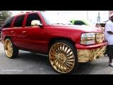 WhipAddict Kandy Red 05' Chevrolet Tahoe on Gold Amani Forged Nino 30s, Custom Interior