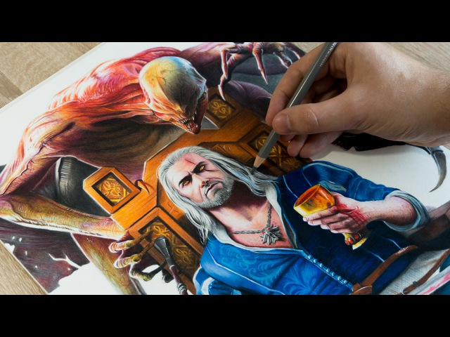Drawing Geralt of Rivia - The Witcher 3: Blood Wine