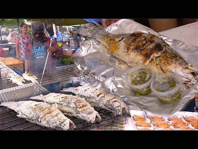 Barramundi Silver perch White perch Salted Whole Fish Street Food in Bangkok Thailand
