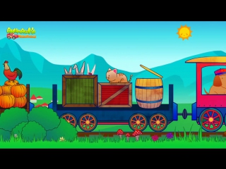 Поезд мультик. Мультики про паровозики. Паровозик с животными. Животные для детей. Детские песни.