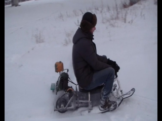 На БензоПилоСнегокате, снегоход из бензопилы дружба и снегоката