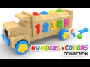 Learn Colors and Numbers with Wooden Truck Toy - Colours and Numbers Videos Collection for Children